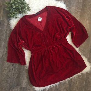 Old Navy maternity red velvet top